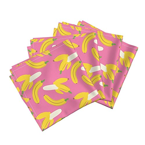 Roostery Banana Linen Cotton Dinner Napkins Banana Jam - Pretty In Pink by Hugandkiss Set of 4 Cotton Dinner Napkins made by (Napkin Folding Table Banana)