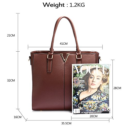 Ladies Women 1 Large Look Coffee Tote Style Fashion For Bag Shoulder New Bag Leather Female Design Faux Designer Handbag fAAwp0gqH