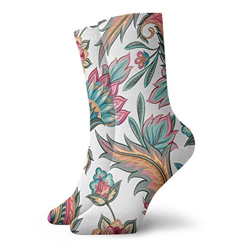 YIEOFH Teal Pink Orange Paisley Floral Novelty Boys Girls Fashion Cute Funny Casual Art Crew Socks ()