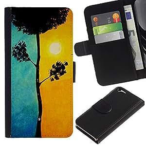 KLONGSHOP // Tirón de la caja Cartera de cuero con ranuras para tarjetas - Blue Tree Significado Sun Pintura - Apple Iphone 6 //