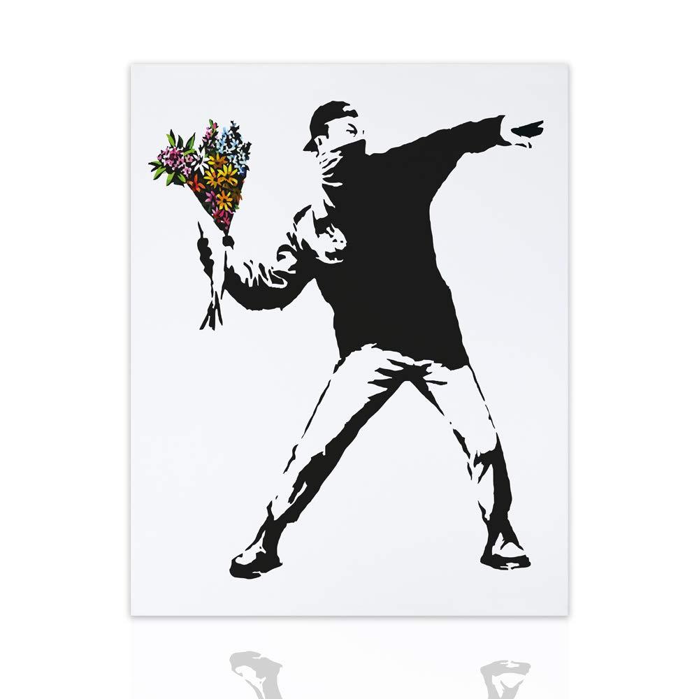 Quadro Arredamento Moderno Dipinto su Tela Flower Thrower - Banksy Canvas Guerrilla Art Telaio realizzato a Mano Pronto da appendere Arredo Casa Design - Declea