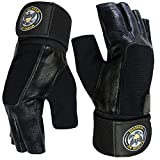 US Muscle Division Weight Lifting Gloves - Soft Leather Gym Gloves With Wrist Support + Double Stitched Fingers And Palm - Breatheable Mesh Lycra On Back + Easy Open Finger Tab Size Adjuster