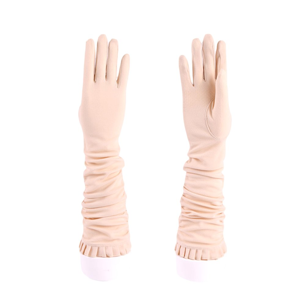 JAMOR Women Long Sleeve Soft Cotton Sun Ultraviolet Protection Gloves Breathable Comfortable Soft Non-Slip Screen Touchable Gloves Idea for Wedding Outdoor Driving Party (Beige)