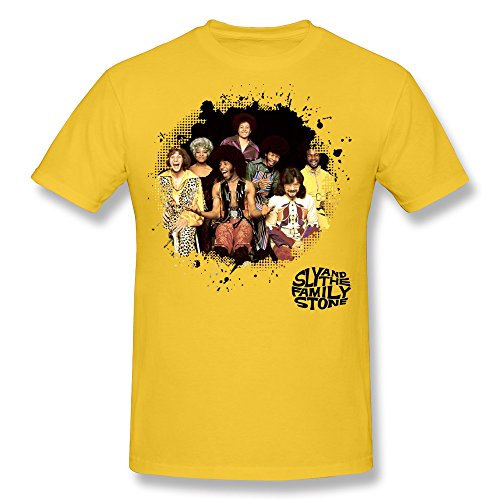 Men's Sly And The Family Stone Poster O-neck Tees Size XS Yellow (Samsung Christmas Promotion)