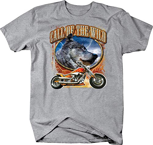 - Call of The Wild Grey Wolf Head and Flames Chopper Motorcycle Custom Tshirt - 3XL