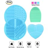 Makeup Brush Cleaning Mat, Esarora Makeup Brush Cleaner Set of 3 Mini Cosmetic Brush Cleaner Mat Portable Washing Tools (Pink)