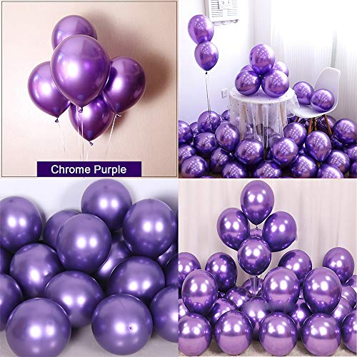 Chrome Metallic Balloons for Party 50 pcs 12 inch Thick Latex balloons for Birthday Wedding Engagement Anniversary Christmas Festival Picnic or any Friends & Family Party Decorations-Metallic Purple