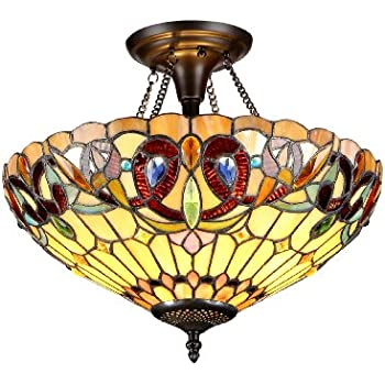 amora lighting am1081hl12 tiffany style stained glass ceiling light