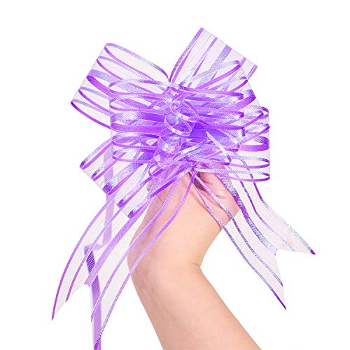 LazyMe Pull Bow, Large, Organza, 6 Inches, for