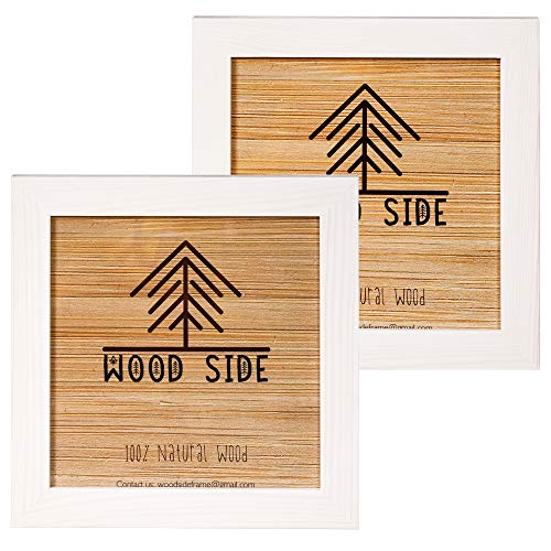 Rustic Wooden Square Picture Frames 8x8 - Set of 2-100% Natural Solid Eco Wood with Real Glass for Wall Mounting Photo Frame - White (Vintage Photo For Sale Frames)