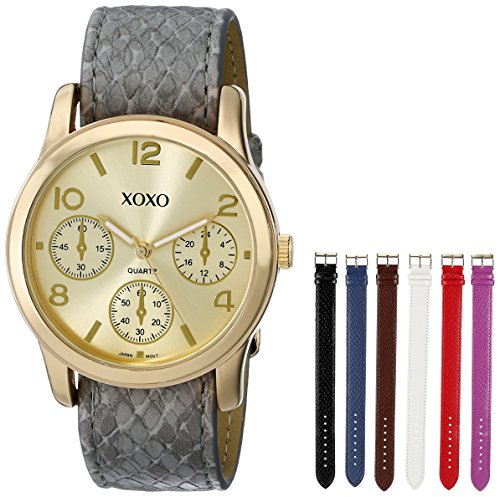 (XOXO Women's XO9027 Seven Color Snake Interchangeable Strap Set Watch)