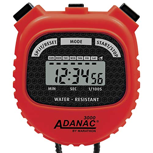 MARATHON Adanac 3000 Digital Sports Stopwatch Timer with Extra Large Display and Buttons, Water Resistant (Red, Pack of 1)