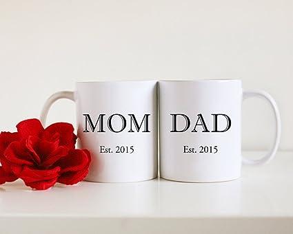 Mamá y papá tazas personalizada tazas personalizadas taza nueva masculino y femenino de regalo de padres
