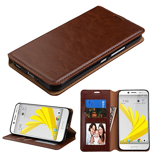 HTC Bolt Case, Bicast PU Leather Folio Wallet with Card Slots and Kickstand, Comes with Stylus Pen and Screen Protector - Brown (Plain Kit Bolt)