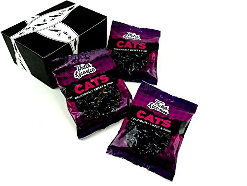Gustaf's Black Licorice Cats, 5.2 oz Bags in a BlackTie Box (Pack of 3) (Christmas Gifts Licorice)