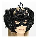 Largemouth Handmade In The USA Masquerade Mask With Feather Wings Black (Black)