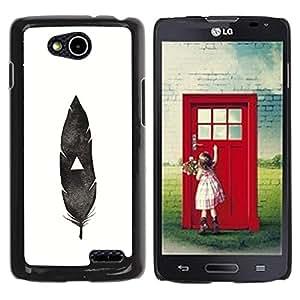 YOYOYO Smartphone Protección Defender Duro Negro Funda Imagen Diseño Carcasa Tapa Case Skin Cover Para LG OPTIMUS L90 D415 - pluma india nativa blanco negro profundo