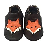 LSERVER Baby Boys Girls Toddlers 0-2Yrs Months Soft Sole Leather Infant Shoes Crib Shoes Orange Fox L