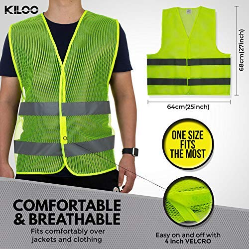 Reflective Safety Vests - Pack of 12 | High Visibility Neon Yellow Mesh | Fits Men and Women | For Construction and Surveyor Work, Security, Emergency, Event Volunteers, Traffic and Parking Workers by Kiloo (Image #4)