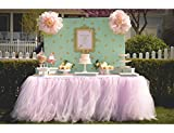 Tulle Tutu Table Chair Skirt for Wedding Birthday Party Baby shower Decoration (Pink, Table Skirt)