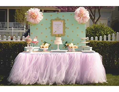 Tulle Tutu Table Chair Skirt for Wedding Birthday Party Baby shower Decoration (Pink, Table Skirt) -