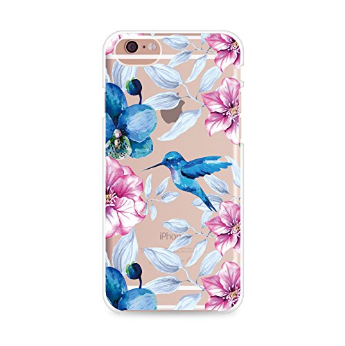 (iPhone 7 Plus Case,iPhone 8 Plus Case,Summer Girls Colored Vintage Pinnk Blue Hummingbird Flowers Floral Bird Japanese Cherry Blossom Roses Beach Cute Clear Soft Case for iPhone 8 Plus/iPhone 7 Plus )