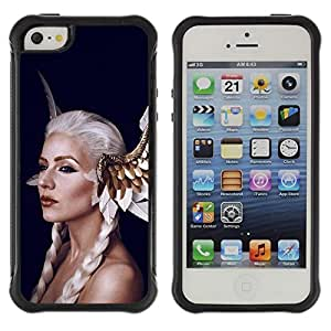 Fuerte Suave TPU GEL Caso Carcasa de Protección Funda para Apple Iphone 5 / 5S / Business Style Fairy Tale White Woman Hair Wings Red Lips