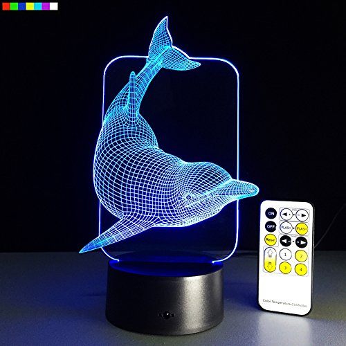 Kids Night Light Animal Dolphin 7 Colors Change with Remote Control Gifts for Kids or Animal Lover Gift Ideas by Easuntec (Dolphin) Gifts For Kids