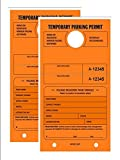 TEMPORARY PARKING PERMIT - Mirror Hang Tags, Numbered with Tear-Off Stub, 7-3/4 x 4-1/4, Bright Fluorescent Orange, 50 Per Pack - Double-Pack (100 Tags)