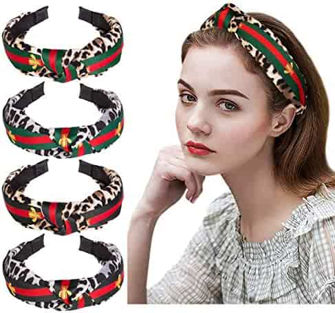 Emoly Leopard Knot Headbands for Women - 4 Pack Wide Plastic Hair Hoops Top Knotted, Elastic Cheetah Hair Bands for Girls Fashion Animal Print Hair Accessories