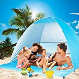 Wilwolfer Beach Tent Pop Up Sun Shelter Plus Cabana Automatic Canopy Shade Portable