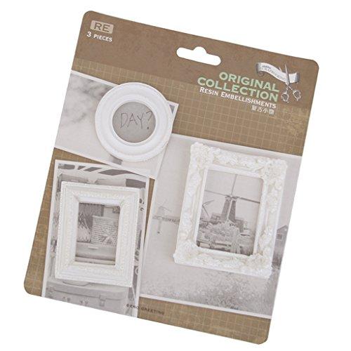 MagiDeal Pack of 3 Vintage White Victorian Frames Resin Embellishments Flatback Crafts (White Resin Frames)