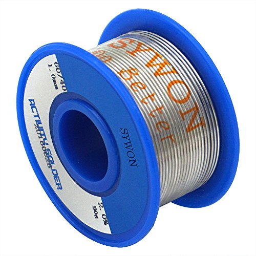 "Sywon 60-40 Tin Lead Rosin Core Solder Wire 0.039"" 50g for Electrical Soldering and DIYs"