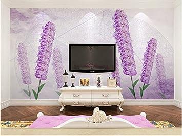 Yosot Tapete 3d Custom Floral, Lila Lavendel Für Wohnzimmer ...