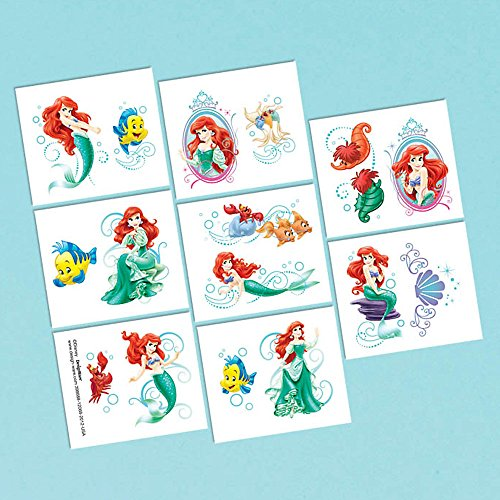amscan Little Mermaid Tattoo Favors (16 Pack) - Party Supplies