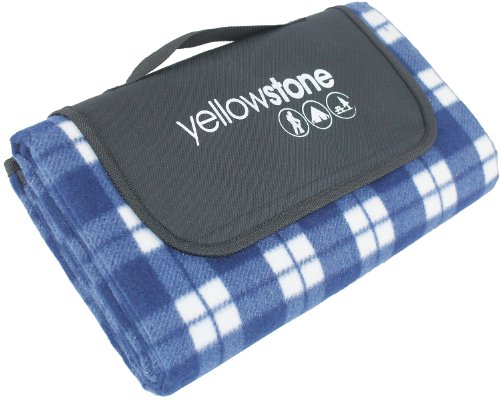 Yellowstone Luxury Fleece Picnic Rug - Blue Tartan (Yellowstone Picnic Basket)