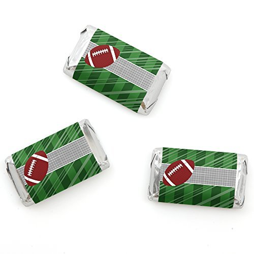 End Zone - Football - Mini Candy Bar Wrappers Baby Shower or Birthday Party Favors - 20 - Candy Football Bar