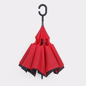 ZHGI Doble inverso manos libres creative Kazbrella paraguas plegable inverso alquiler de larga empuñadura de hueso