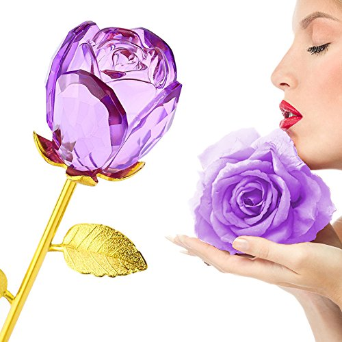 Glass Rose Flower, 24K Gold Plated Long Stem Artificial Rose Flower Happy Anniversary Birthday Valentines Gift for Her (Bud-Purple)