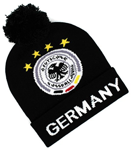 "High End Hats Nations of the World Cap Collection "" Double Layered Skull Beanie Cap, Germany with DFB Logo, Black (Logo Skull Beanie)"