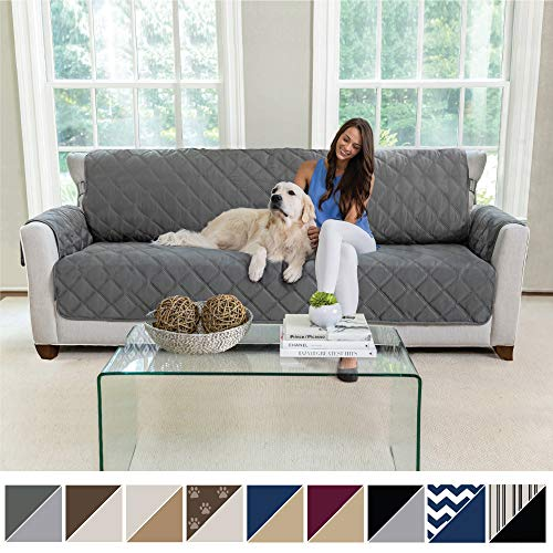 MIGHTY MONKEY Premium Reversible Sofa Slipcover, Seat Width to 78 Inch Furniture Protector, 2 Inch Elastic Strap, Washable Couch Slip Cover, Protects from Kids, Oversized Sofa, Charcoal Light Gray (Best Couch Covers For Pets)