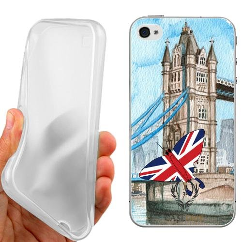 CUSTODIA COVER CASE CASEONE BUTTERFLY ENGLAND PER IPHONE 5C