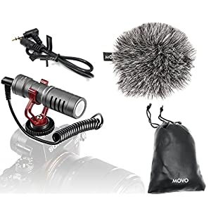 Movo VXR10GY Universal Video Microphone with Shock Mount, Deadcat Windscreen, Case for iPhone/Andoid Smartphones, Canon EOS/Nikon DSLR Cameras and Camcorders (Gray)