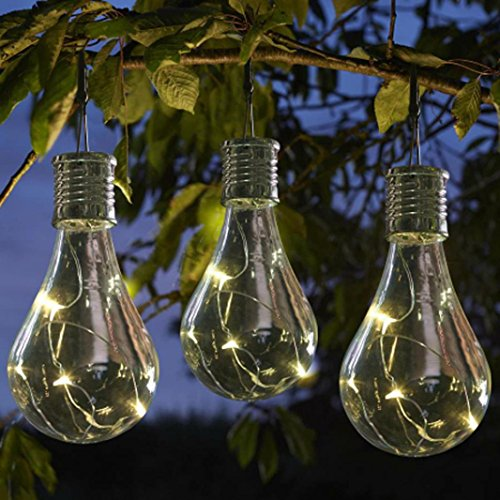 Waterproof Solar Powered Led Bulb Lights, Outdoor Garden Camping Hanging LED Light Lamp Bulb (One Size, White)