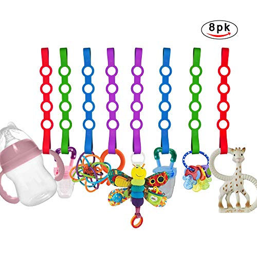 Baby Toy Straps, 8 Pack Stretchable Silicone Pacifier Clips Baby Toddler Toy Bottle Harness Straps for Strollers, Shopping Trolley,Cars,Hanging ()