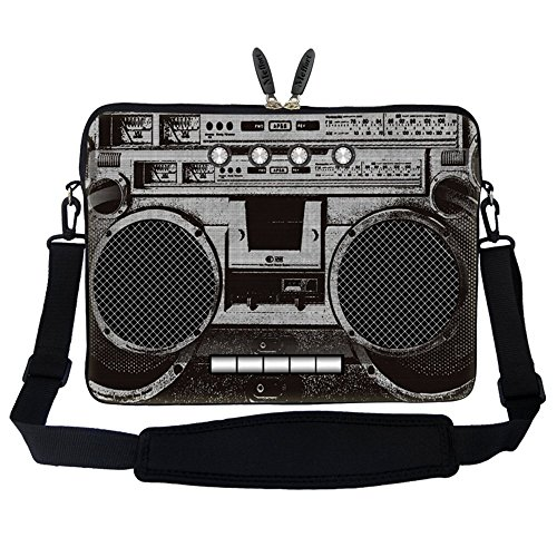 Price comparison product image Meffort Inc 17 17.3 inch Neoprene Laptop Sleeve Bag Carrying Case with Hidden Handle and Adjustable Shoulder Strap - Cassette Player