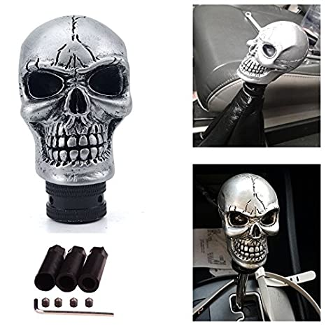 Silver SMKJ Universal Bone Resin Skull Head Style Car Shift Knob Shifter Knobs Lever Gear Stick for Most Manual or Automatic Transmission Vehicles