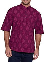 Shalinindia Men Cotton Printed Short Kurta Mandarin Collar ,Raspberry-36 Inch