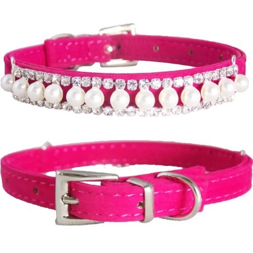 """WwWSuppliers Adjustable Velvet PU Suede Leather Bling Diamonds and Pearls Fashion Collar for Dogs, Puppies, Cats or Kittens (SMALL 7 1/2""""- 10 1/2"""") (Hot Pink)"""