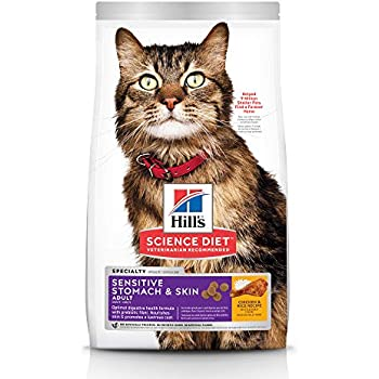 Hills Science Diet Dry Cat Food, Adult, Sensitive Stomach & Skin, Chicken & Rice Recipe, 15.5 lb bag